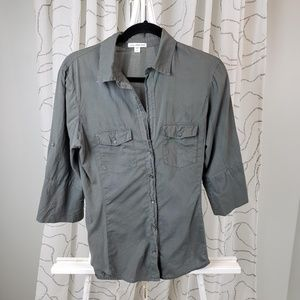 James Perse Contrast Ribbed Button Down Surplus XL